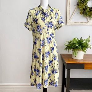 Lindy Bop Yellow Floral Short Sleeve Fit and Flare